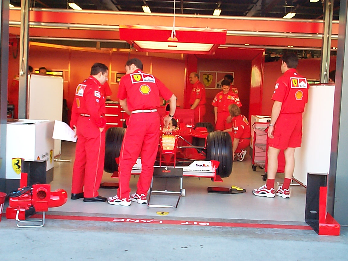 Ferrari mechanics were still